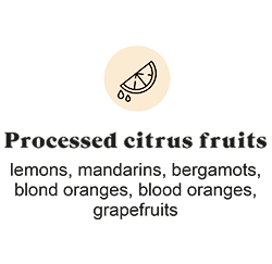 Processed citrus fruits: lemons, mandarins, bergamots, blond oranges, blood oranges, grapefruits
